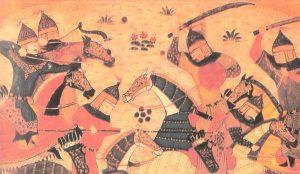 Ilustración de Gengis Khan junto a sus Jinetes Mongoles