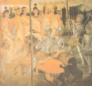 Encuentro Moctezuma II y Hernan Cortés