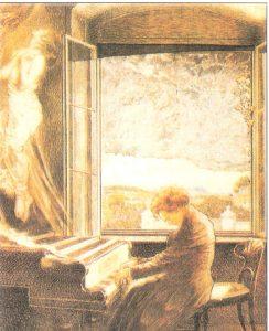 Pintura de Beethoven Tocando Piano