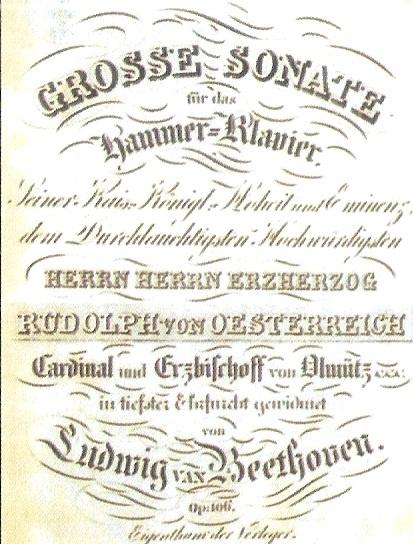 """Fronstispicio de la Sonata para piano Op. 106 """"Hammer-Klavier"""""""