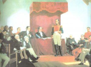 Bolívar en el Congreso de Angostura.